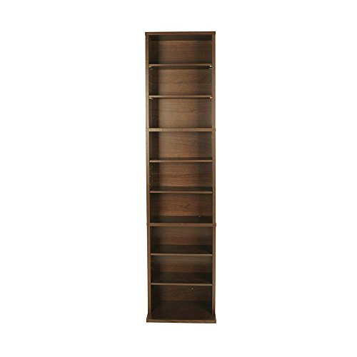 BS Multimedia Storage Rack Organizer Functional Accomodation of Media Collection Contemporary Design Home Indoor Slim Sturdy Construction 3 Fixed Shelves/5 Adjustable & eBook by BADA shop