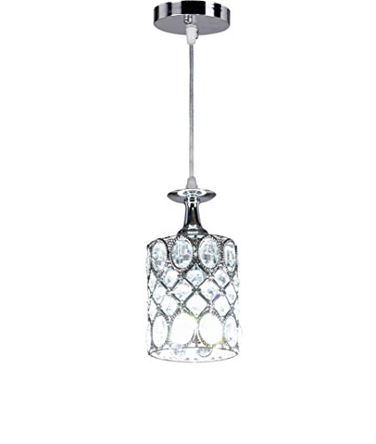New Legend Lighting 1-light Chrome Finish Metal Shade Crystal Chandelier Hanging Pendant Ceiling Lamp Fixture, 8387