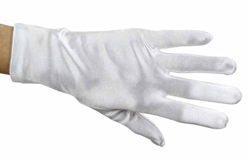 Beautiful Wrist Length Short Satin Gloves in 34 Colors Assorted Glove Colors: White (Wrist Bridal Gloves Length)