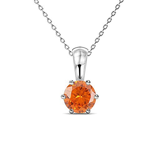(tusakha 18K White Gold Plated Sterling Silver Round Created Orange Sapphire Solitaire Pendant Necklace for Women Jewelry Gift)