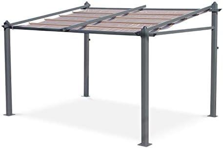 Pergola de Pared, Aluminio, Marron, 3x4m, Murum