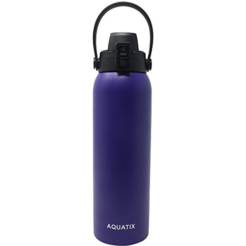 New Aquatix (Purple / Lavender, 32 Ounce) Pure Stainless Steel Double Wall Vacuum Insulated Sports Water Bottle Convenient Flip Top Cap with Removable Strap Handle - Keeps Drinks Cold 24 hr / Hot 6 hr
