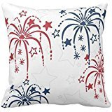 Red White And Blue Fireworks 4Th Of July Pillow Cover For Living Room, Sofa, Etc