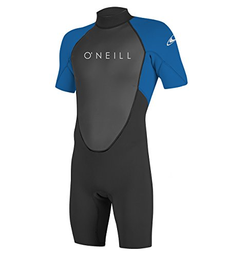 (O'Neill Men's Reactor-2 2mm Back Zip Short Sleeve Spring Wetsuit, Black/Ocean, Large Short)