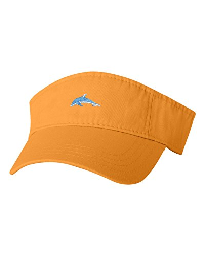 Adjustable Gold Adult Dolphin Embroidered Visor Dad (Gold Dolphin Hat)