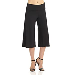 """Rekucci Women's """"Ease Into Comfort"""" Knit Culotte Capri Pant with Fold Over Waistband (X-Large,Black)"""