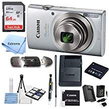 Canon PowerShot ELPH 180 Digital Camera (Silver) + 64 GB Memory Card + Point & Shoot Camera Case + USB Card Reader + LCD Screen Protectors + Memory Card Wallet + Cleaning Pen + Accessory Kit from Extreme Elextronics