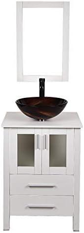 24インチホワイト浴室洗面キャビネット木製のトップコンテナのシンクの洗面ボウル蛇口排水コンビネーション (Color : 2)