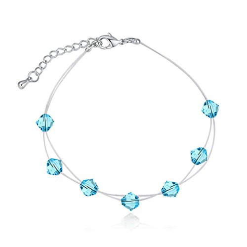 Epinki Gold Plated Womens Girls Bracelets Cubic Zirconia Adjustable Sea Blue