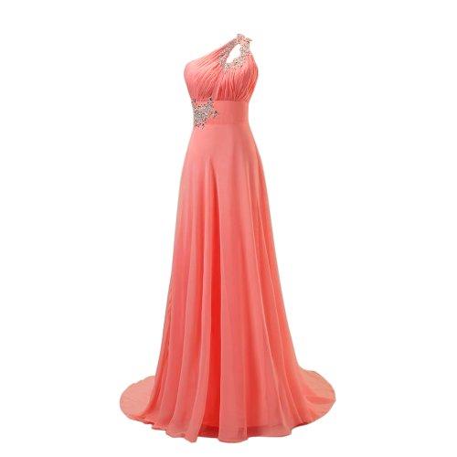 Fashipn Plaza One Shoulder Long Evening Bridesmaid Dresses (US4, Watermelon red)