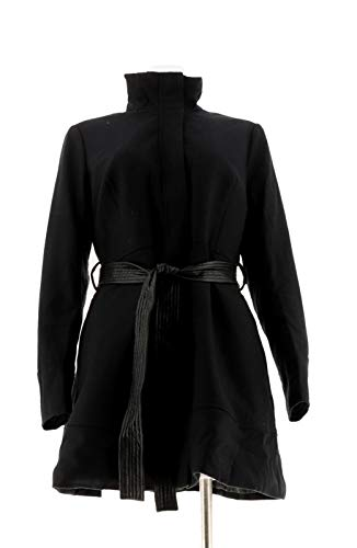 Wool Pant New Belted - Gili Wool Peplum Coat Faux Leather Belted Noir Pockets Black 20W New A260268