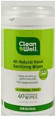 Hand Sanitizer: CleanWell Natural Hand Sanitizing Wipes