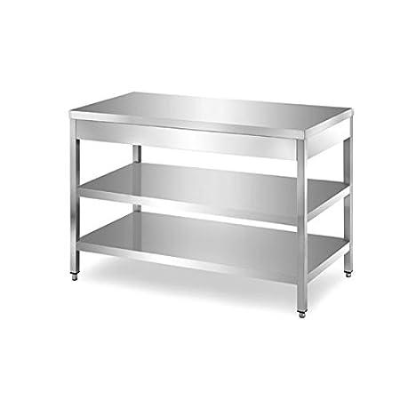 Mesa de acero inoxidable con 2 estantes sin Alzatina Dim. cm 170 x ...