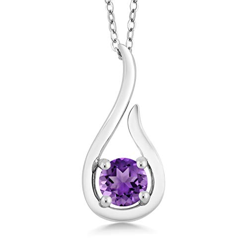 Gem Stone King 0.45 Ct Round Purple Amethyst 925 Sterling Silver Raindrop Pendant With Chain