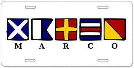 (Marco Island Aluminum License Plate Decorative Front License Plate,Metal License Plate Covers for Women,Vanity Tag,Novelty Gifts, for Dad,Gifts for Mom)