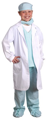 Child Jr Doctor Lab Coat - Aeromax Jr. Physician Set with Green Doctor Scubs and White Lab Coat, Size 4/6.