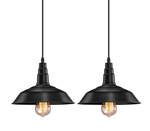 Industrial Pendant Light FadimiKoo E26 E27 Black Vintage Hanging Pendant Lights Retro Lamp Fixtures for Kitchen Home Lighting Decor 2 Pack