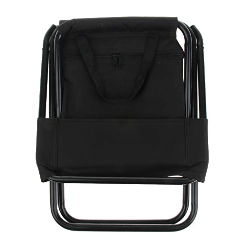 Prettyia Multi-Purpose Folding Camping Fishing Chair Stool Backpack with Cooler Insulated Picnic Bag - Black