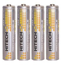 Fujitsu Digital Cameras - Hitech - 4 Rechargeable AAA Batteries, Ni-Mh, 800mAh, AAA Size. for Wireless Products.