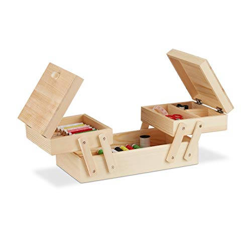 Relaxdays Wooden Sewing Box with 5 Sections Folding Handles - Empty Natural Look, H x W: 12 x 26 x 15,5 cm, Natural ()