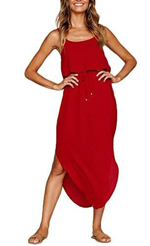 (Maxjeef Womens Casual Summer Beach Dress Solid Chiffon Adjustable Spaghetti Strap Midi Sundress (Red, Medium))
