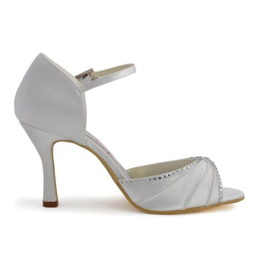 Elegantpark - Bailarinas de satén Mujer Blanco - blanco