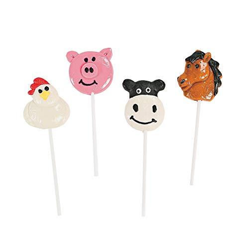 Farm Animal Character Sucker Lollipops (1 dz) ()