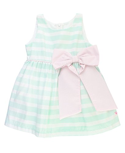 RuffleButts Infant/Toddler Girls Special Occasion Sleeveless Sateen Stripe Dress w/Bow - Blue - 6-12m