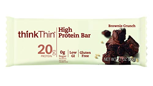 High Protein Bars by thinkThin – On The Go, 20g Protein, Low Sugar, Gluten Free, Non-GMO – Brownie Crunch (30 Bars)