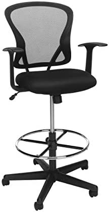 OFM Essentials Collection Mid Back Mesh Drafting Chair, Drafting Stool, in Black ESS-3012-BLK