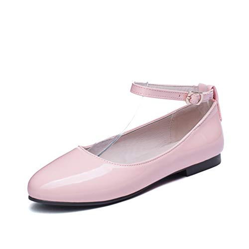 (JEFCY Women Flat Dress Pumps Comfort Round Toe Slip On PU Leather Ankle Buckle Strap Casual Ballet Work Shoes Pink)
