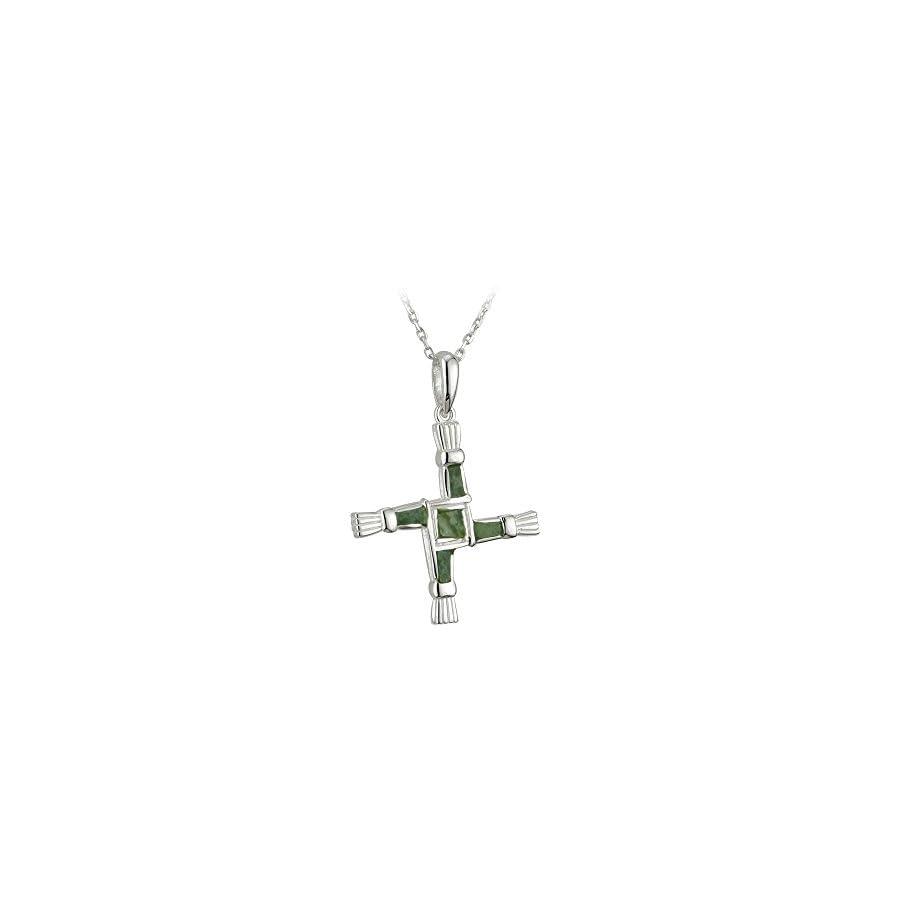 Connemara Marble St Brigids Cross Sterling Silver Irish Made