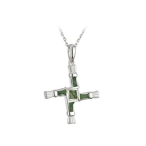 St Brigids Cross Necklace Sterling Silver Connemara Marble Irish Made