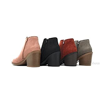 4714d8d1b182 MVE Shoes Soda Womens Target Perforated Stacked Block Heel Ankle Bootie.  Home   CLOTHING · Add to Wishlist loading. Product added! Browse Wishlist.  The ...