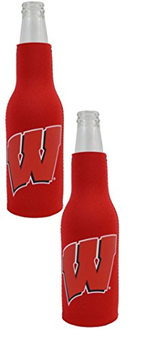 Wisconsin Badgers Bottle - Official National Collegiate Athletic Association Fan Shop Authentic NCAA 2-pack Insulated Bottle Cooler (Wisconsin Badgers)