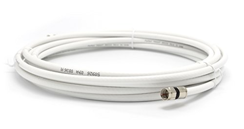 15' Feet, White RG6 Coaxial Cable (Coax Cable), Made in the USA, with Compression Connectors, F81 / RF, Digital Coax for Audio/Video, CableTV, Antenna, and Satellite, CL2 Rated, 15 Foot
