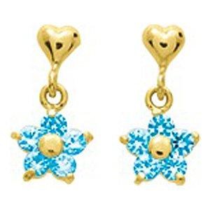 So Chic Bijoux © Boucles d'oreilles Femme Fille Pendant Coeur & Fleur Etoile Topaze Bleu Or Jaune 750/000 (18 carats)