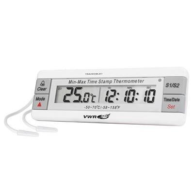 10208-394 - 2 Bottle Probes - VWR Traceable Dual Refrigerator/Freezer Thermometers - Each