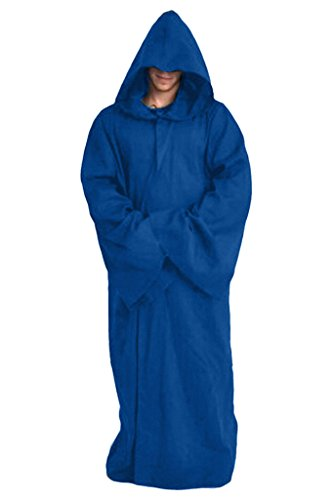Blue Hooded Robe (Joyshop Mens Halloween Witch Cosplay Robe Costume Adult Hooded Cloak Cape,Blue,Medium)