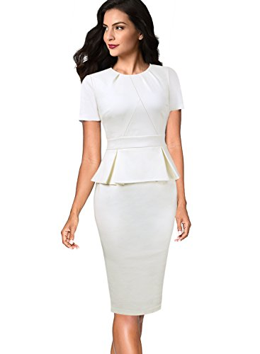 Wht Neck - VFSHOW Womens Pleated Crew Neck Peplum Work Business Office Sheath Dress 536 WHT 3XL
