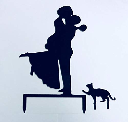 Russian Wedding Cake - Bride & Groom + Cat, Choice of Cat, Wedding Cake Topper, Groom Holding Bride, Bride with Short hair/hair up, Your Choice of Cat, 20 cat Silhouettes to Choose from, MADE IN THE USA