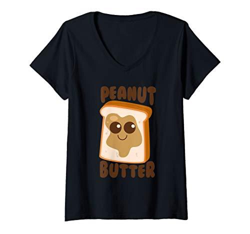Womens Peanut Butter Matching Halloween Costume Set DIY Jelly Art V-Neck T-Shirt]()