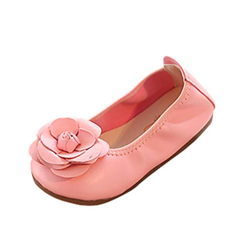 - FIged Dancing Shoes Baby Girls Solid Flower Ornament Leather Slip-On Mary Jane Pink