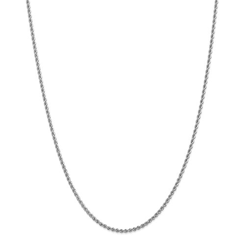 Roy Rose Jewelry 14K White Gold 2.25mm Handmade Regular Rope Chain Necklace ~ Length 16'' inches - 16' Regular Rope Chain