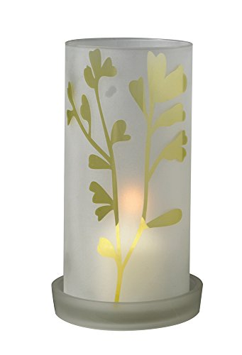 Biedermann & Sons Glass Frost Leaf Hurricane Candle Holder
