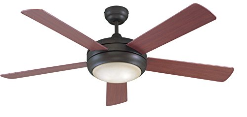 Litex E-TIT52ABZ5LKRC Titan Collection 52-Inch Ceiling Fan with Remote Control, Five Reversible Mahogany/Maple Blades and Single Light Kit with Teastain Glass