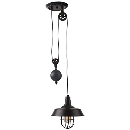 Stone & Beam Farmhouse Pulley Pendant With Bulb, 23