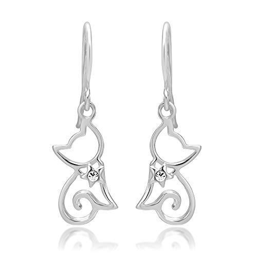 925 Sterling Silver Cubic Zirconia CZ Open Little Cat Dangle Earrings