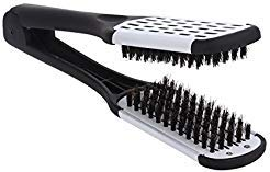 ROSENICE Hair Comb Hair Straightening Comb Styling Tools Boar Bristle Double Sided Brush Comb Clamp (Black White)