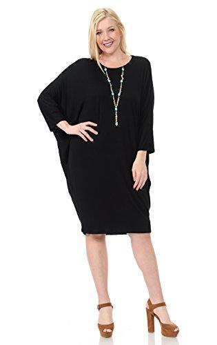 Pastel by Vivienne Women's Side Draped Dolman Sleeves Plus Dress XXX-Large Black ()